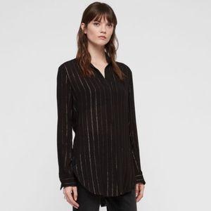 All Saints Keri black gold striped blouse tunic